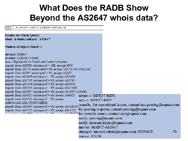 What Does the RADB Show Beyond the AS 2647 whois data? 79