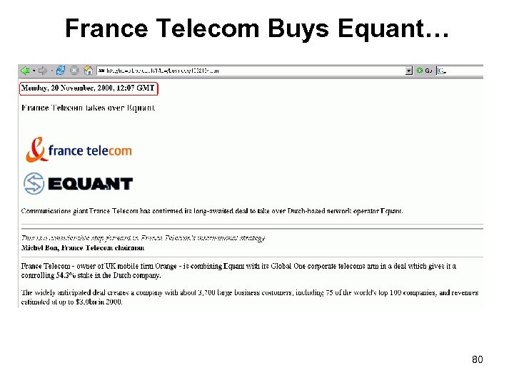 France Telecom Buys Equant… 80