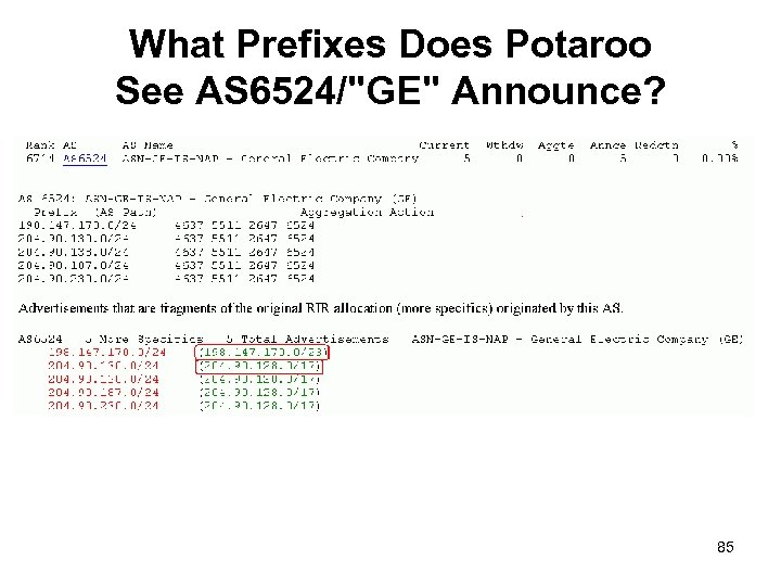What Prefixes Does Potaroo See AS 6524/