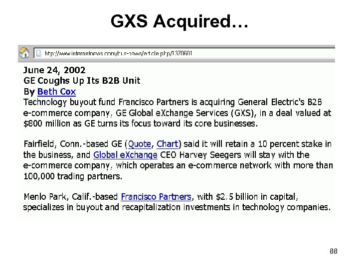 GXS Acquired… 88