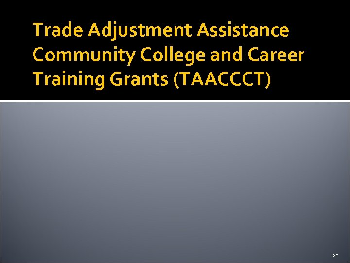 Trade Adjustment Assistance Community College and Career Training Grants (TAACCCT) 20