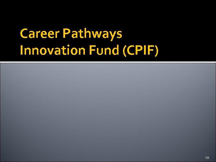 Career Pathways Innovation Fund (CPIF) 29
