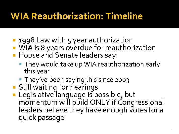 WIA Reauthorization: Timeline 1998 Law with 5 year authorization WIA is 8 years overdue