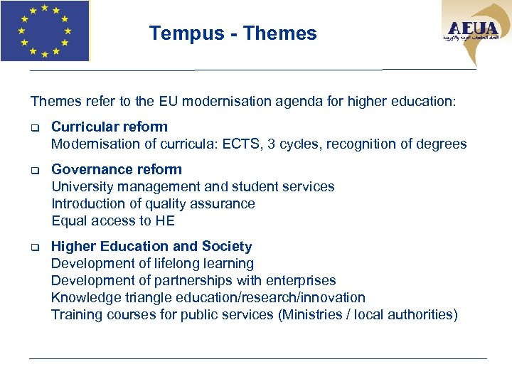 Tempus - Themes refer to the EU modernisation agenda for higher education: q Curricular