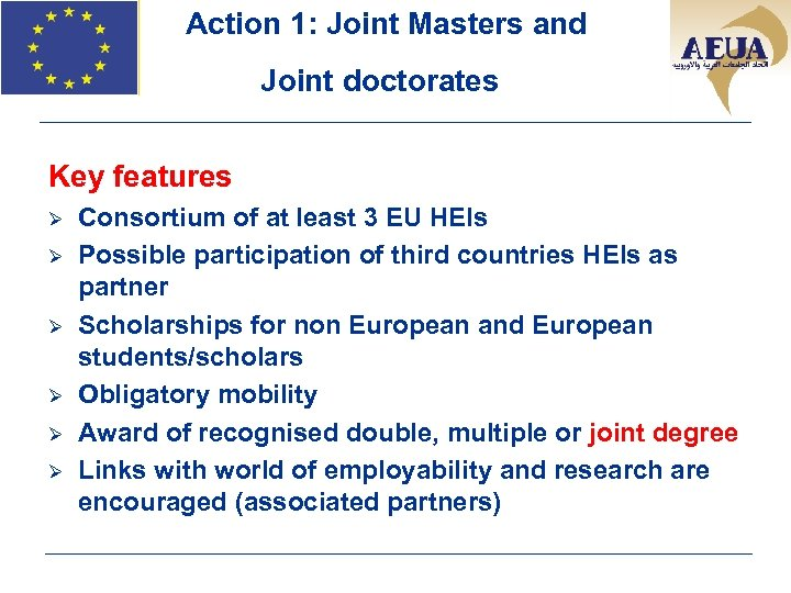 Action 1: Joint Masters and Joint doctorates Key features Ø Ø Ø Consortium of