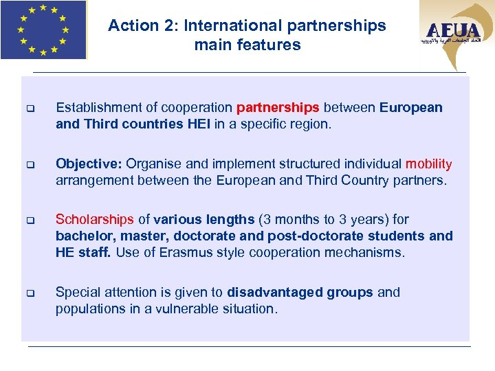 Action 2: International partnerships main features q Establishment of cooperation partnerships between European and