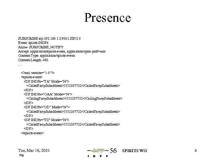 Presence SUBSCRIBE sip: 192. 168. 1. 2: 9001 SIP/2. 0 Event: spirits-INDPs Allow: SUBSCRIBE,