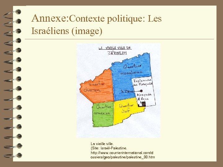 Annexe: Contexte politique: Les Israéliens (image) La vieille ville. (Site: Israël-Palestine. http: //www. courrierinternational.