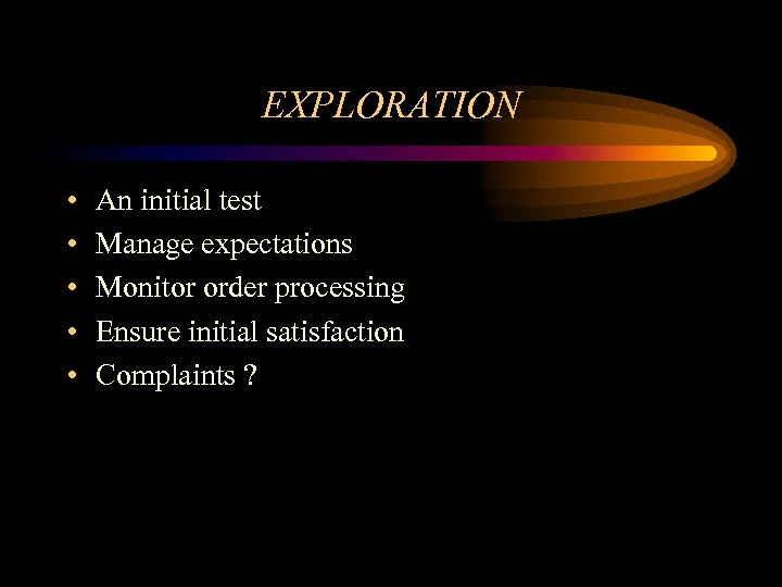 EXPLORATION • • • An initial test Manage expectations Monitor order processing Ensure initial