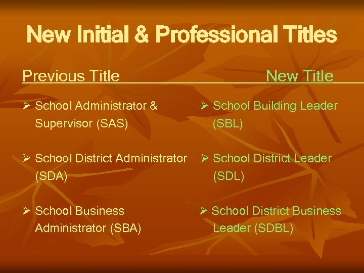 New Initial & Professional Titles Previous Title New Title School Administrator & School Building