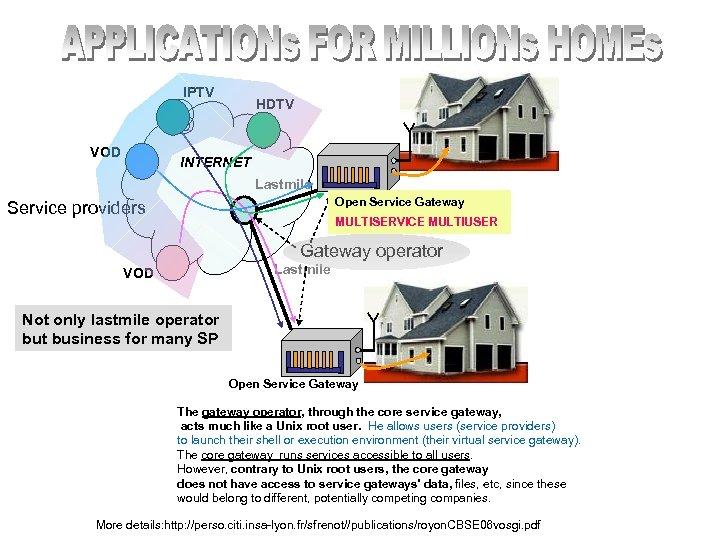 IPTV VOD HDTV INTERNET Lastmile Open Service Gateway Service providers MULTISERVICE MULTIUSER Gateway operator