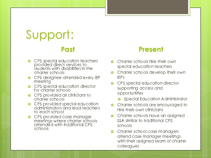 Support: Past CPS special education teachers provided direct services to students with disabilities in