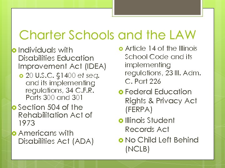 Charter Schools and the LAW Individuals with Disabilities Education Improvement Act (IDEA) 20 U.
