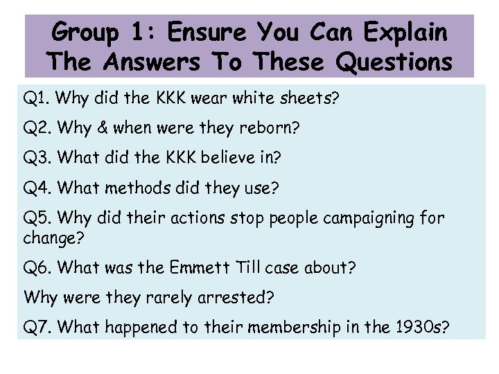 Group 1: Ensure You Can Explain The Answers To These Questions Q 1. Why