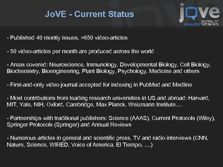 Jo. VE - Current Status - Published 40 montly issues, >650 video-articles - 50