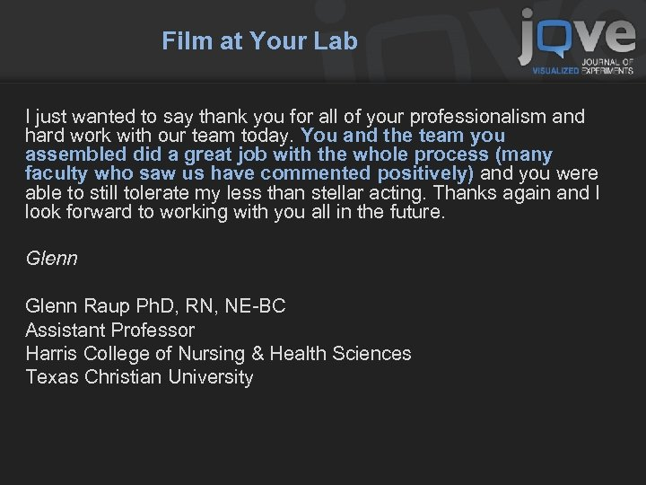Film at Your Lab I just wanted to say thank you for all of