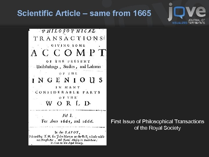 Scientific Article – same from 1665 First Issue of Philosophical Transactions of the Royal