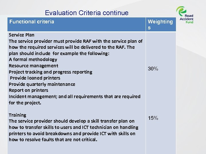Evaluation Criteria continue Functional criteria Service Plan The service provider must provide RAF with