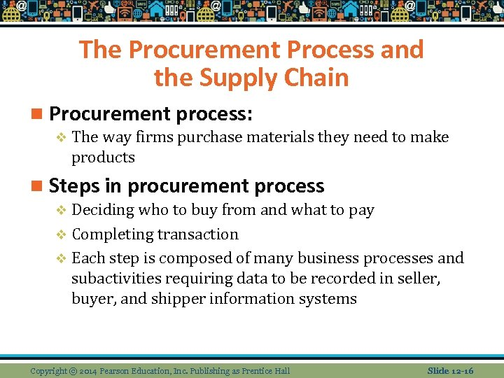 The Procurement Process and the Supply Chain n Procurement process: v The way firms
