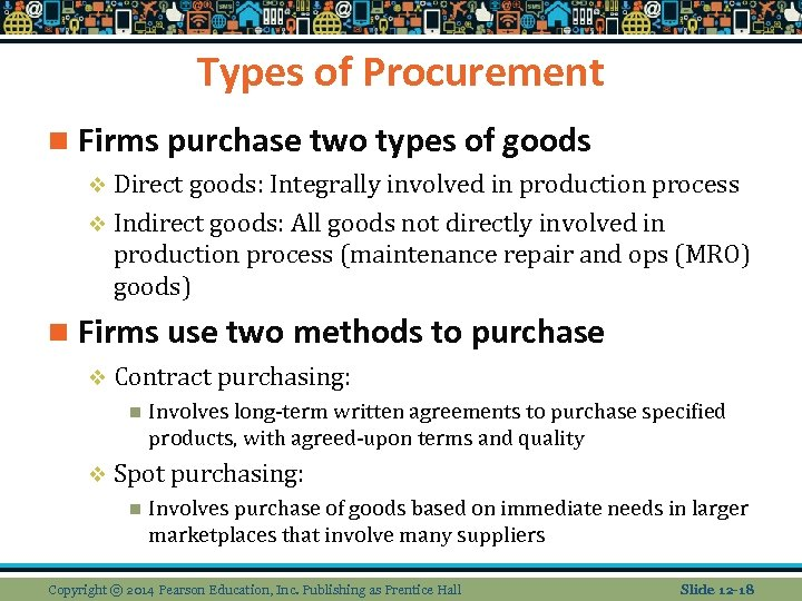 Types of Procurement n Firms purchase two types of goods v Direct goods: Integrally