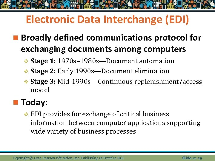 Electronic Data Interchange (EDI) n Broadly defined communications protocol for exchanging documents among computers