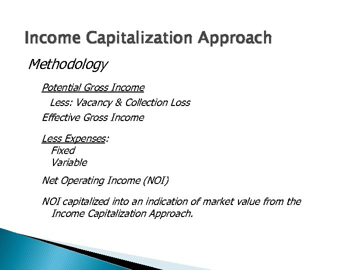 Income Capitalization Approach Methodology Potential Gross Income Less: Vacancy & Collection Loss Effective Gross