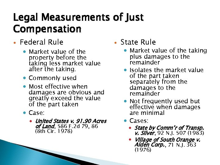 Legal Measurements of Just Compensation Federal Rule Market value of the property before the