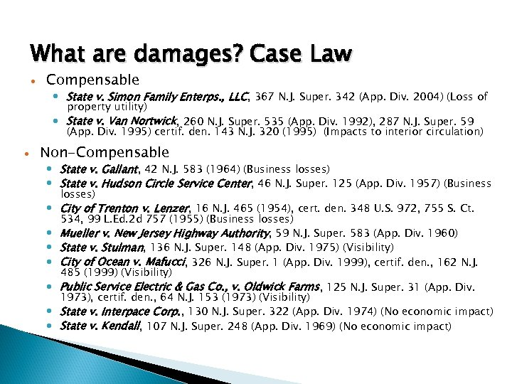What are damages? Case Law Compensable State v. Simon Family Enterps. , LLC, 367