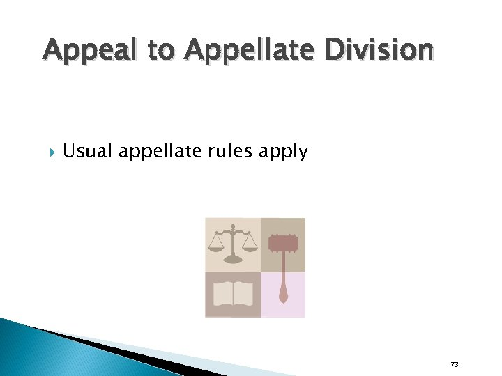 Appeal to Appellate Division Usual appellate rules apply 73