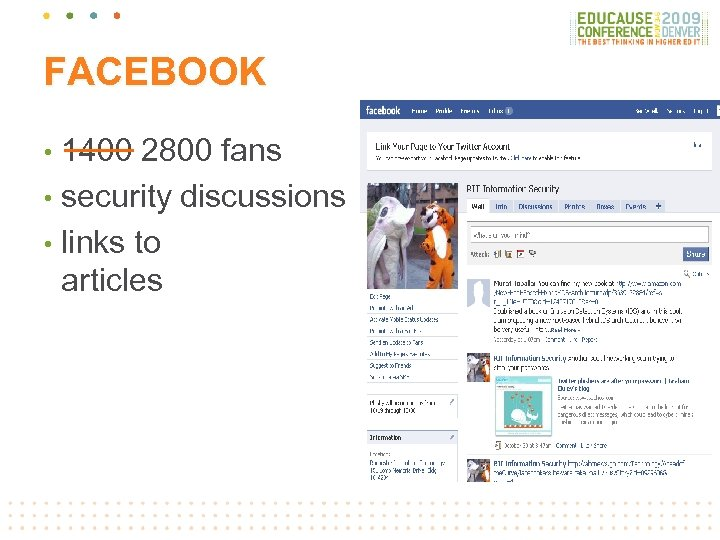 FACEBOOK 1400 2800 fans • security discussions • links to articles •