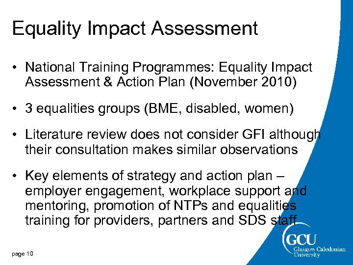 Equality Impact Assessment • National Training Programmes: Equality Impact Assessment & Action Plan (November
