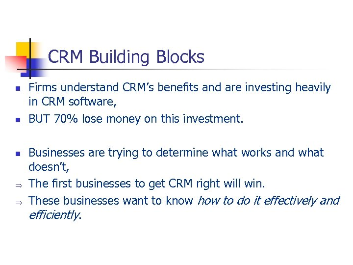 CRM Building Blocks n n n Þ Þ Firms understand CRM's benefits and are