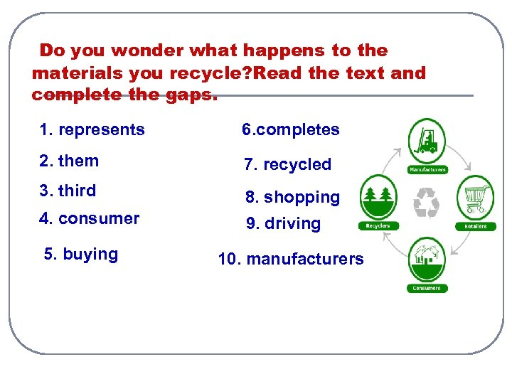 Do you wonder what happens to the materials you recycle? Read the text and