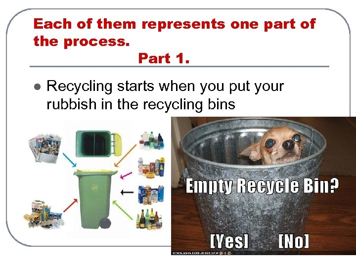Each of them represents one part of the process. Part 1. l Recycling starts