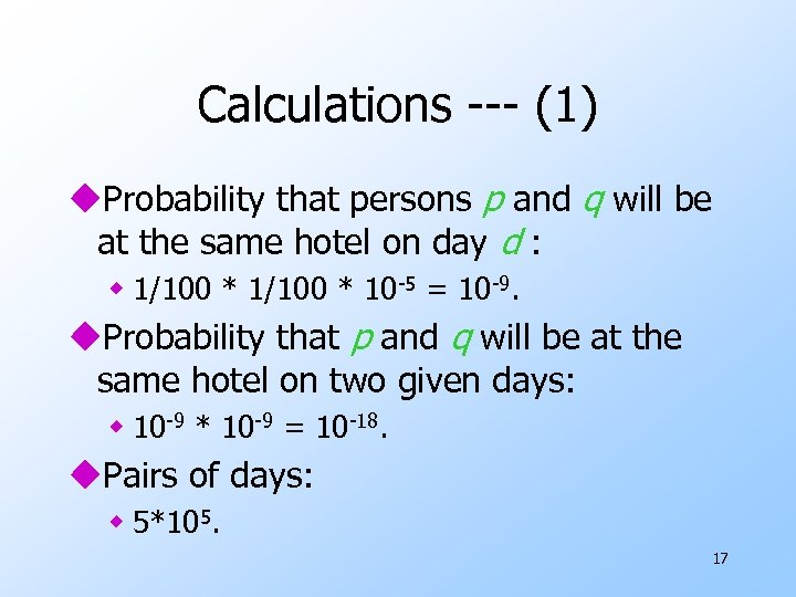 Calculations --- (1) u. Probability that persons p and q will be at the
