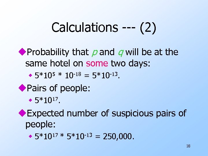 Calculations --- (2) u. Probability that p and q will be at the same