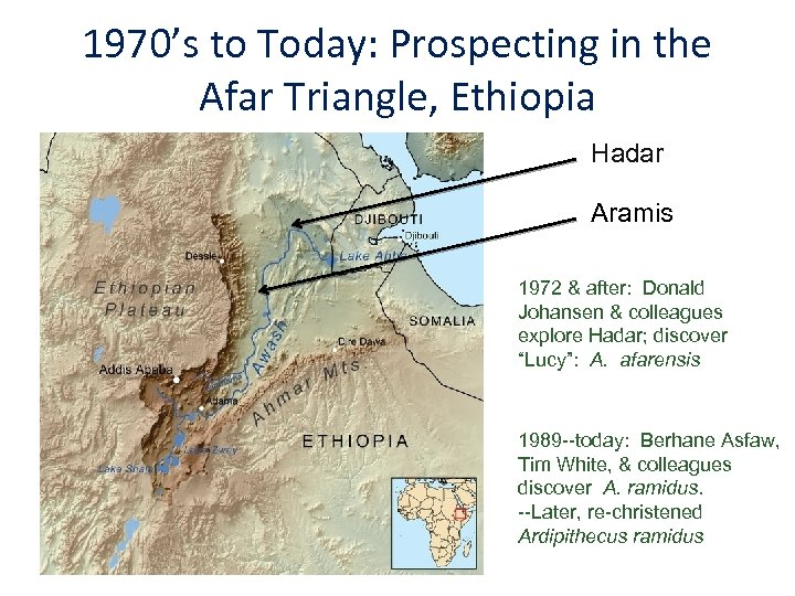 1970's to Today: Prospecting in the Afar Triangle, Ethiopia Hadar Aramis 1972 & after: