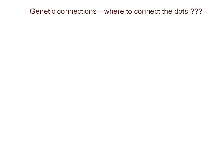 Genetic connections—where to connect the dots ? ? ?