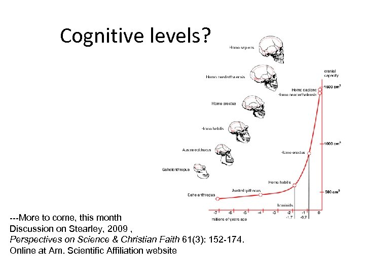 Cognitive levels? ---More to come, this month Discussion on Stearley, 2009 , Perspectives on