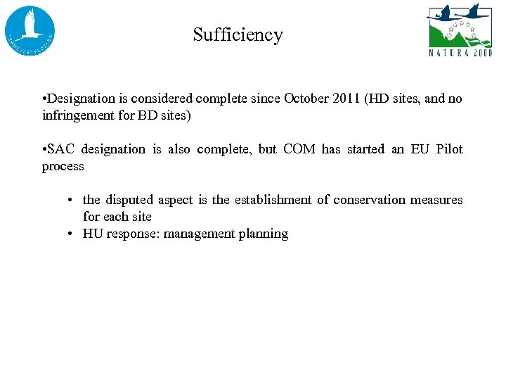 Sufficiency • Designation is considered complete since October 2011 (HD sites, and no infringement