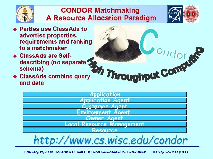 CONDOR Matchmaking A Resource Allocation Paradigm Parties use Class. Ads to advertise properties, requirements