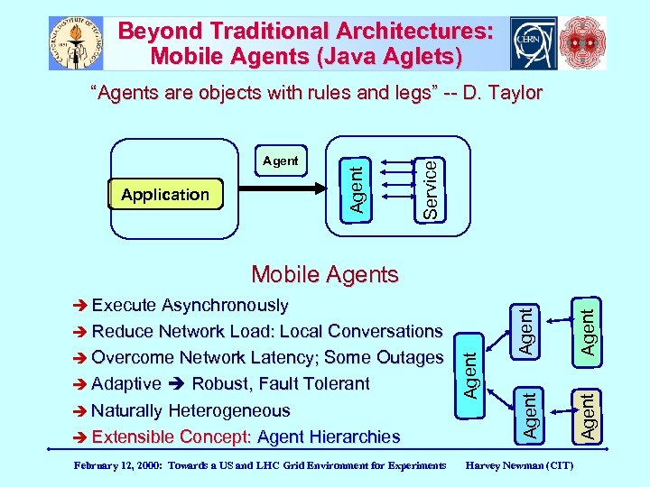 """Beyond Traditional Architectures: Mobile Agents (Java Aglets) Application Service Agent """"Agents are objects with"""