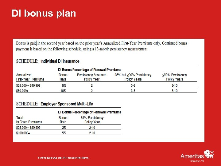 DI bonus plan For Producer use only. Not for use with clients.