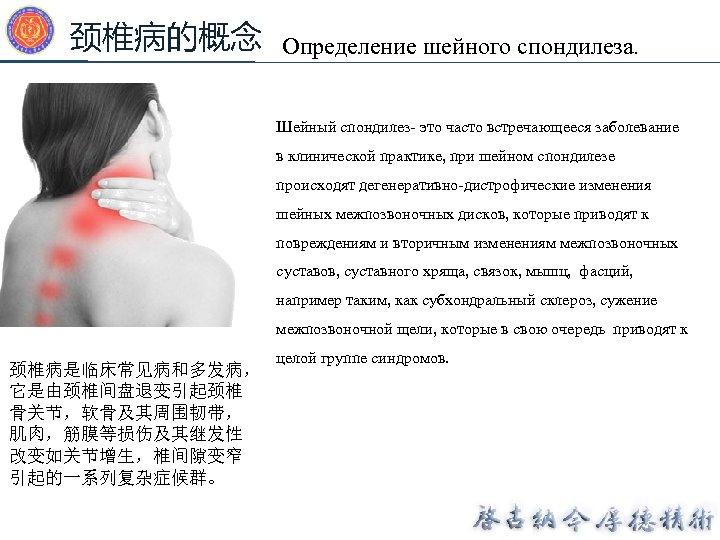 颈椎病的概念 Определение шейного спондилеза. Шейный спондилез- это часто встречающееся заболевание в клинической практике, при