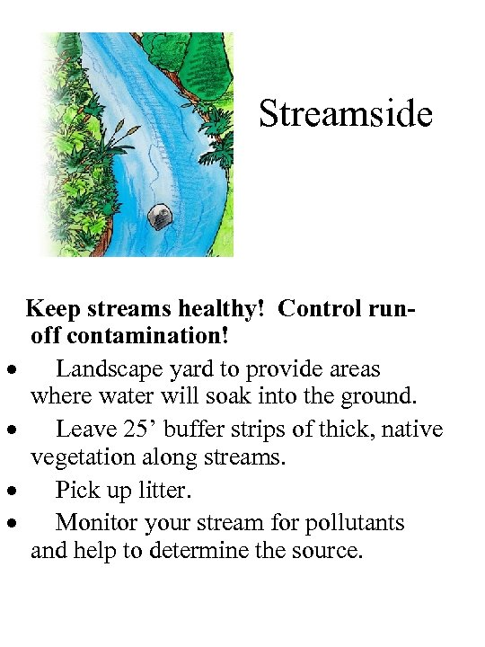 Streamside Keep streams healthy! Control runoff contamination! · Landscape yard to provide areas where