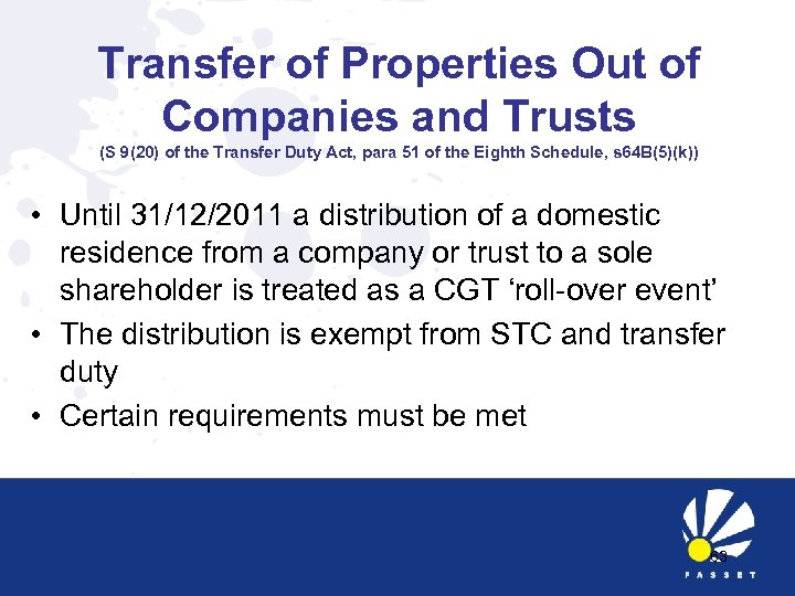 Transfer of Properties Out of Companies and Trusts (S 9(20) of the Transfer Duty