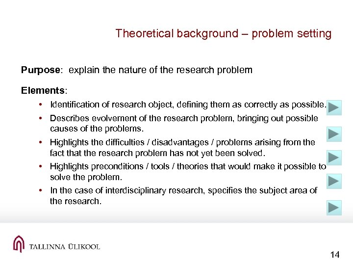 Theoretical background – problem setting Purpose: explain the nature of the research problem Elements: