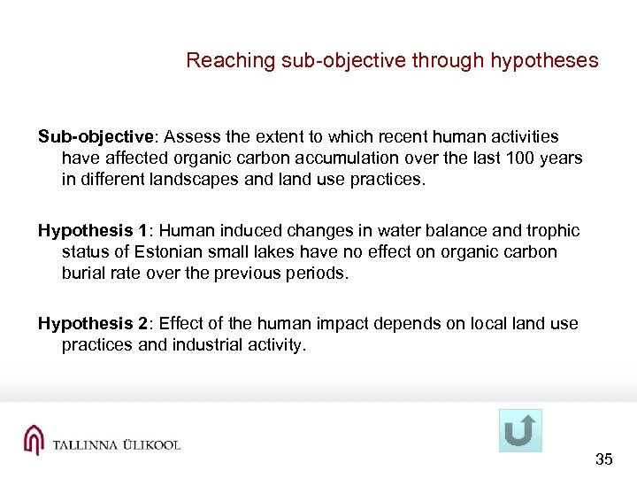Reaching sub-objective through hypotheses Sub-objective: Assess the extent to which recent human activities have
