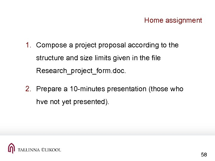 Home assignment 1. Compose a project proposal according to the structure and size limits