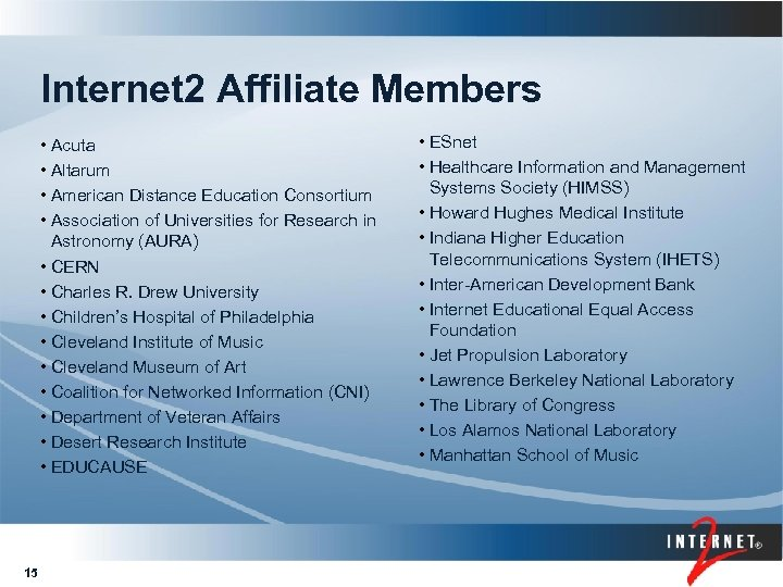 Internet 2 Overview Engagement Network and Services Fall